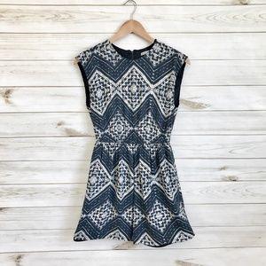 ALICE + OLIVIA Geo Print Black White Mini Dress
